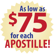 As Low As $75 for Each Apostille