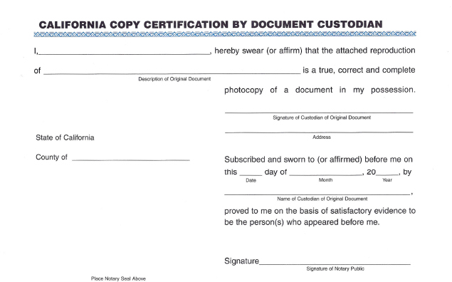 Copy Certification