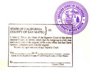 California Superior Court Seal San Mateo Sample